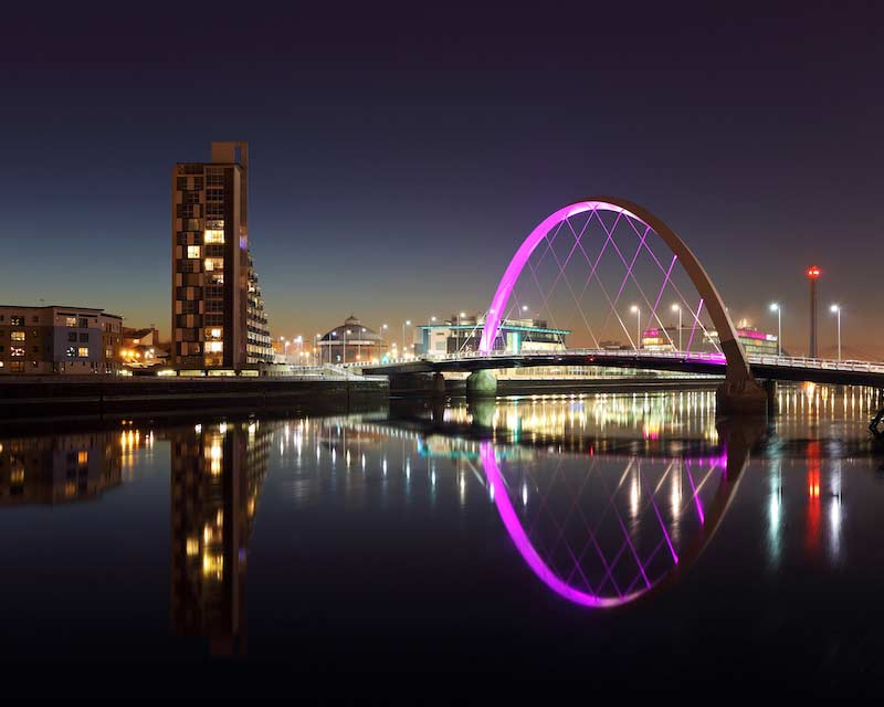 Bridge reflection across the River Clyde at night, Glasgow