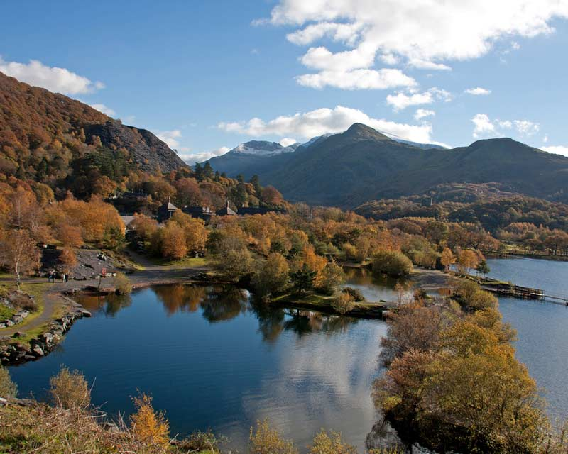 Llanberis In Autumn and Llyn Padarn in the heart of Snowdonia National park