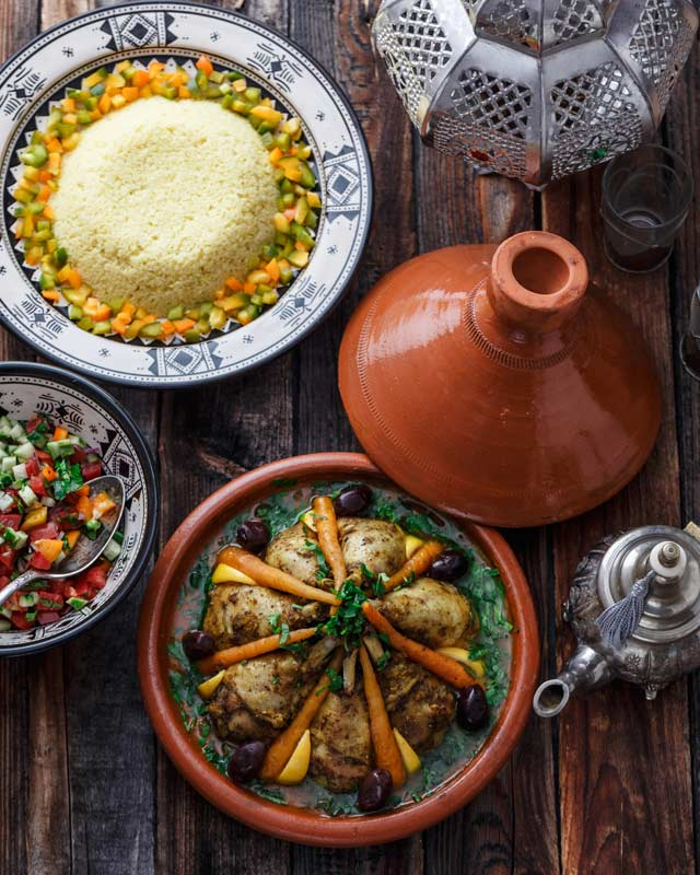 Moroccan dishes on the table