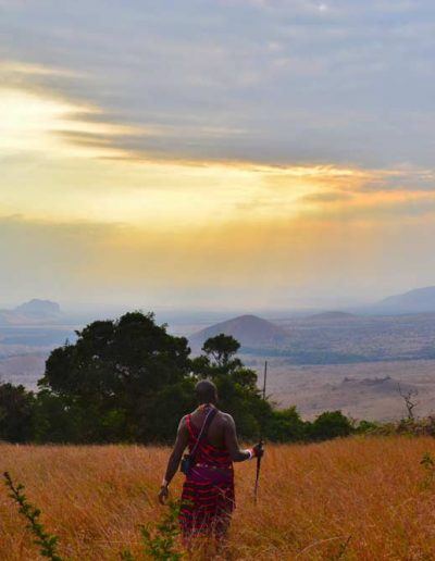 Man-standing-in-the-Chyulu-Hills,-Kenya