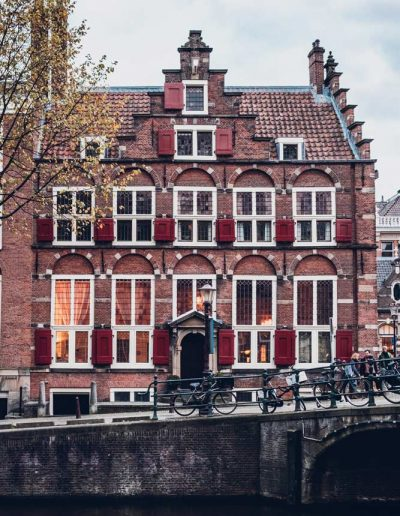 A classical house near the channels in Amsterdam, Netherlands