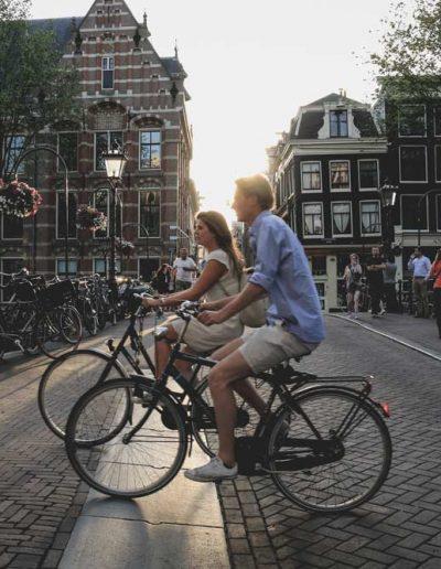 Cycling through Amsterdam, Netherlands