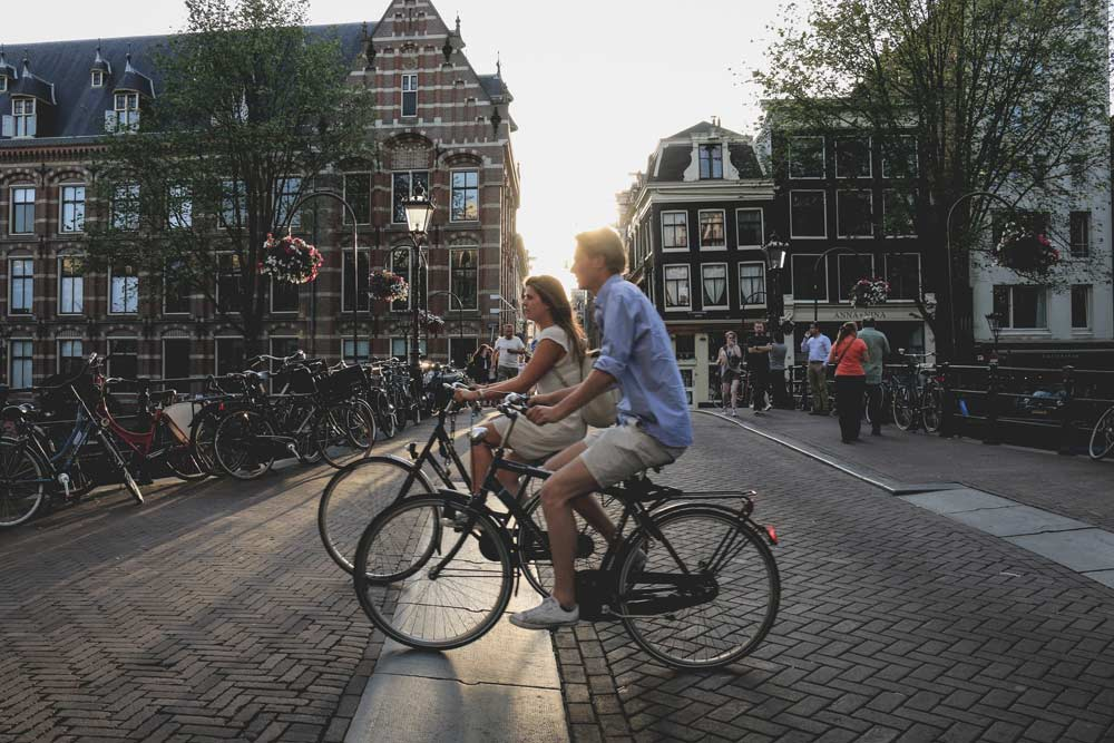 Cycling through Amsterdam, Netherlands