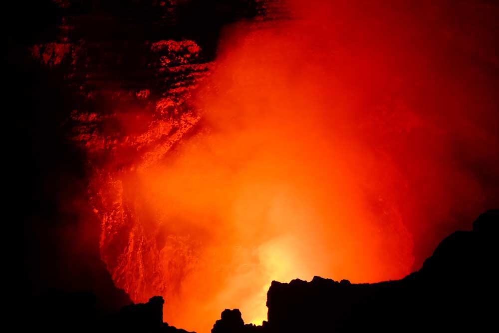 Red hot volcano in Nicaragua