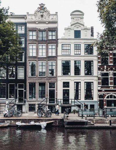 Small traditional houses in Amsterdam, Netherlands